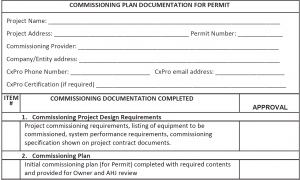 Sample Commissioning Form