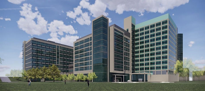 3d rendering of 2 new buildings and parking lot for medical center - z6 consulting